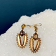 B.M.V.A. 9ct Yellow Gold Antique Victorian Drop Earrings - c1890
