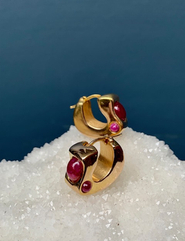 B.M.V.A. Vintage 14ct Yellow Gold and Cabochon Cut Ruby Earrings - Italy c1970