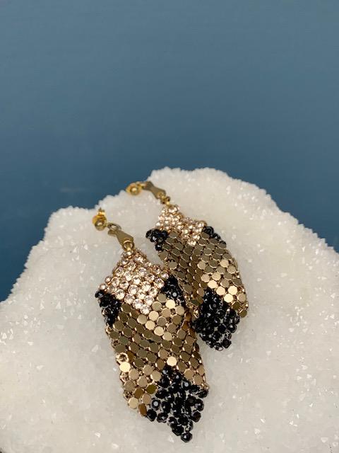 Laura B LAURA B - Mia - Black Gold Mesh with Swarovski Crystal Earrings -  Handmade in Spain