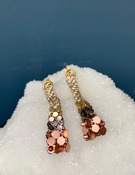 Laura B LAURA B - Effel - Silver, Rose and Gold Mesh with Swarovski Crystal Earrings -  Handmade in Spain