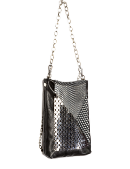 Laura B LAURA B - DIAMOND - Disco Bag - Silver Mesh with Black Leather - Handmade in Spain