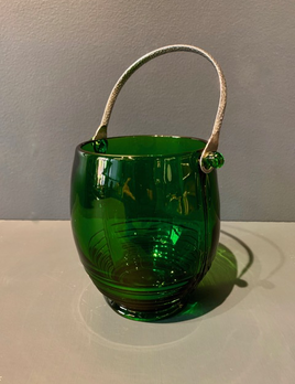 Vintage Emerald Green Glass Ice Bucket with Silver Toned Handle