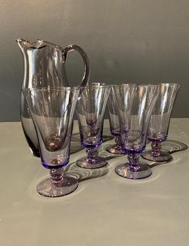 Vintage Purple Glass Jug with 5 five Glasses