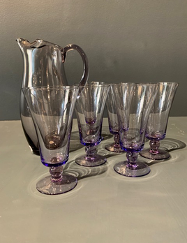 Vintage Purple Glass Jug with 6 Six Glasses