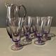 Vintage Purple Glass Jug with 6 Six Glasses