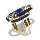 Vintage Lapis Lazuli Dress Ring - 18ct Yellow and White Gold - c1970