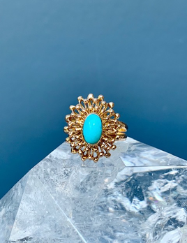 Vintage Turquoise Starburst Dress Ring - 18ct Yellow Gold - c1970