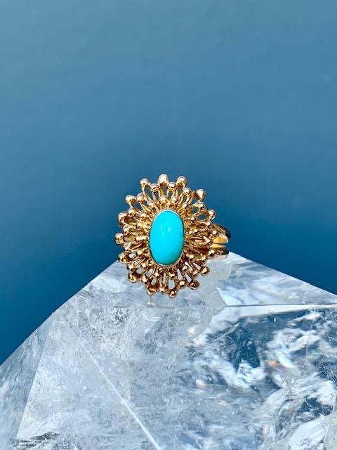 Vintage Turquoise Starburst Dress Ring - 18ct Yellow Gold - c1970