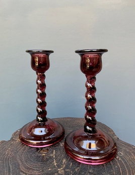 Pair of Purple Glass Twist Candle Holders