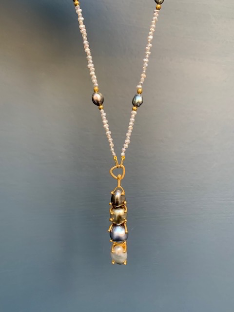 Lisa Black Jewellery - Tahitian Pearl Empire Necklace - Tahitian black, copper and bronze pearls  with silver Akoya Keshi Pearls and black Keshi highlights - 22ct gold detail - Handmade in Australia