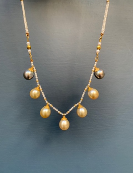 Lisa Black Jewellery - Golden Pearl Empire Necklace - AAA Grade Teardop South Sea Pearls, from a Double Strand of Fine Natural Seed Pearls - 22ct Gold - Handmade in Australia