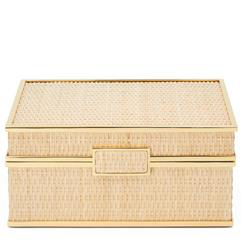 "AERIN - Colette Cane Jewellery Box - Dimensions: 9""l x7.3""w x 3.8""h - Woven Cane, Brass Hardware, Suede Lining"