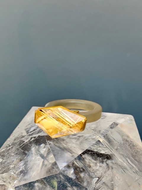 Lisa Black Jewellery - Rutilated Quartz Cocktail Ring - Multi Facet Cut Rutilated Quartz on Blue Horn with 22ct Gold Bevel, Signiture Rivets Detail - Handmade in Australia