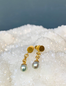 Lisa Black Jewellery - Petite Vermeer  Earrings - Fine Natural Pearl with 22ct Gold - Handmade in Australia