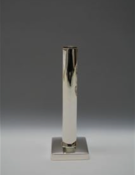 "Lin Silvercraft Sterling silver candle stick 8"" - square base - modern"