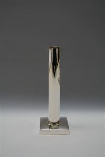 "Lin Silvercraft Sterling silver candle stick 8"" - square base - modern"