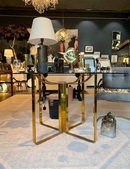 Fabulous Vintage Brass Dining Table with Hexaganol Glass Top - H700xD1300 - (Base D580) - c1970 (could take a round, oval, square or rectangular glass top)