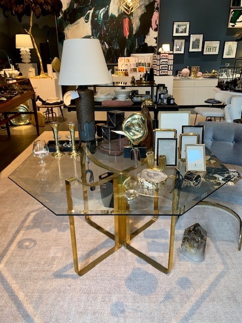 Fabulous Vintage Brass Dining Table with Octagonal Glass Top - H700xD1300 - (Base D580) - c1970 (could take a round, oval, square or rectangular glass top)