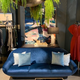 BECKER MINTY Vintage Lounge - Three Seater Sofa - c1970 Re-Upholstered in Brussels Bluestone Velvet - L200cm
