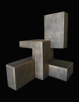 Dan Schneiger Composition 14.1 - Dan Schneiger Geometric Free Standing Sculpture - Black / Gold Resin Coated Recycled Materials - H32cm (approx) - Miami, Florida.