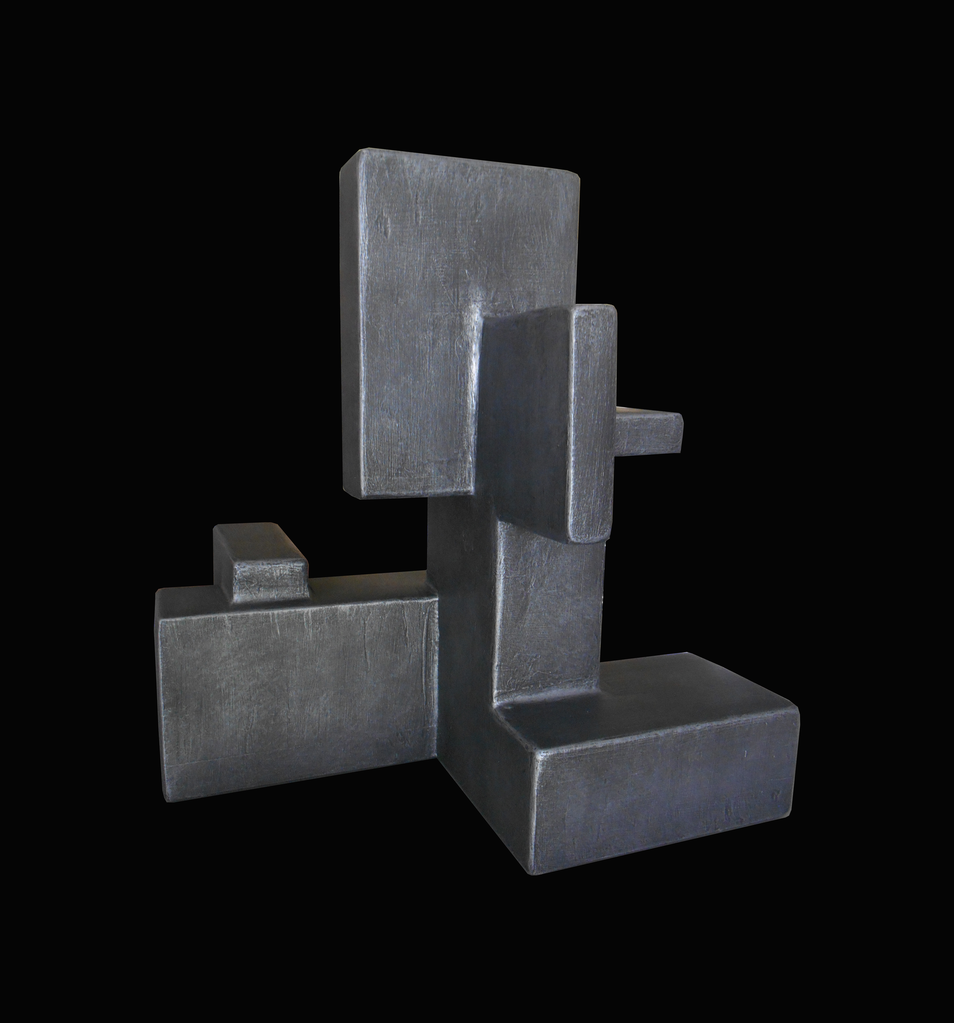 Dan Schneiger Composition 14.2 - Dan Schneiger Geometric Free Standing Sculpture - Pewter Resin Coated Recycled Materials - H32cm (approx) - Miami, Florida.