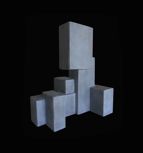Dan Schneiger Composition 14.3 - Dan Schneiger Geometric Free Standing Sculpture - Concrete Resin Coated Recycled Materials - H32cm (approx) - Miami, Florida.