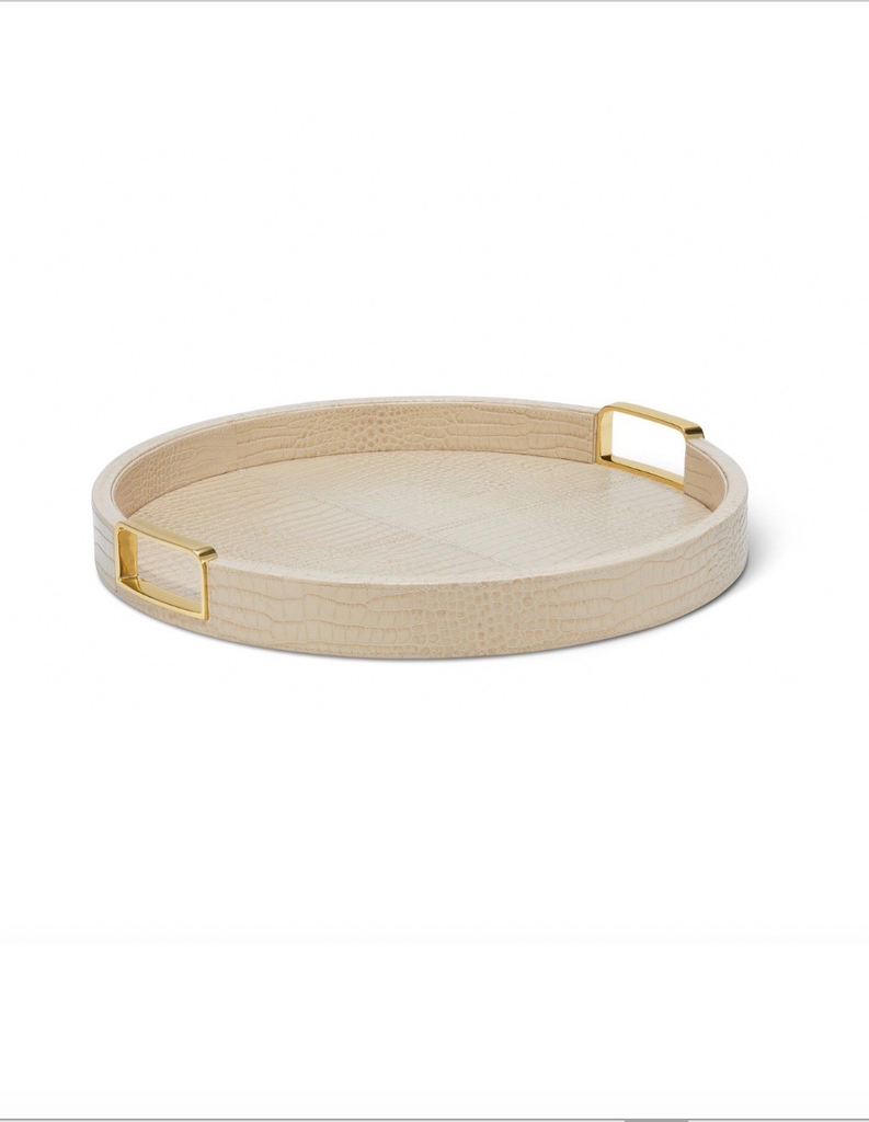 Aerin AERIN - Carina Croc Leather Small Round Tray - Italian Embossed Leather - Fawn - D40cm H4.5cn