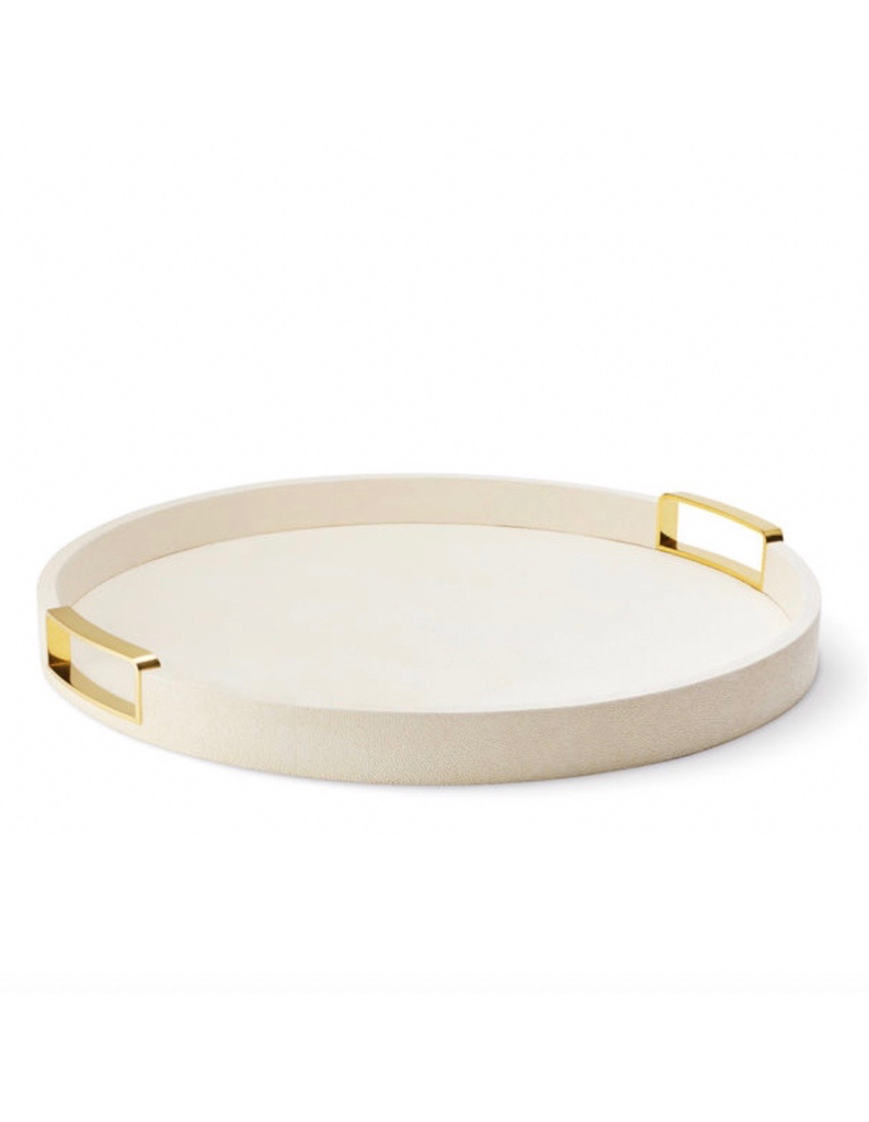 Aerin AERIN - Carina Shagreen Large Round Tray - Embossed Shagreen - Cream - D51.5 H4.5cm