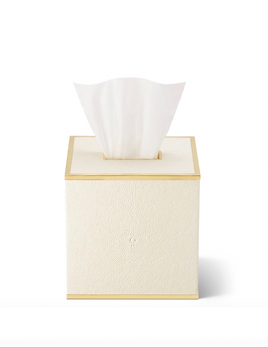 AERIN - Classic Shagreen Tissue Box Cover - Embossed Shagreen - Brass Detail - 14x14x14cm - Cream