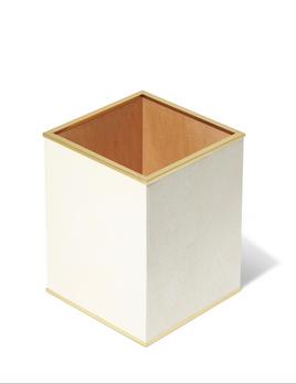 AERIN - Classic Shagreen Waste Basket -  - Embossed Shagreen - 19x19x25cm - Cream
