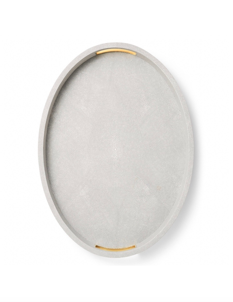 AERIN - Modern Shagreen Cocktail Tray - Embossed Shagreen - Dove - 51x37x4.5cm