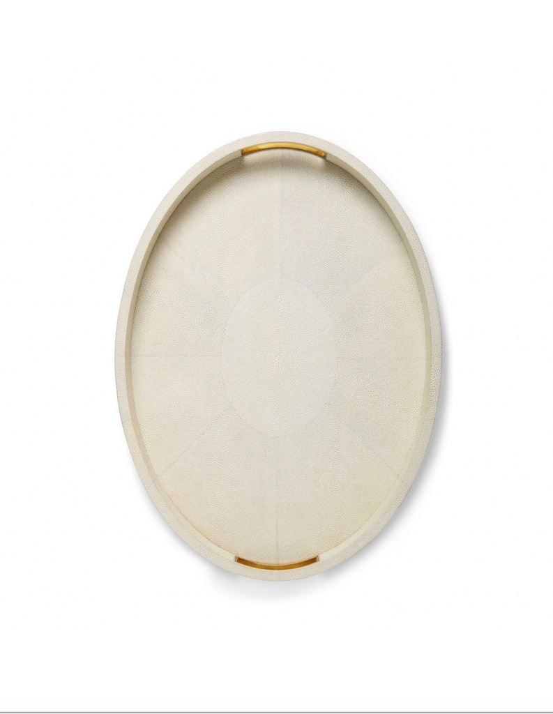 Aerin AERIN - Modern Embossed Shagreen Cocktail Tray - Cream - 51x37x4.5cm