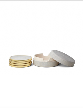 Aerin AERIN - Shagreen Coasters Set of 4 - Embossed Shagreen - Dove