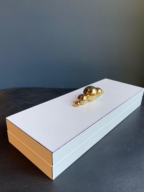 giobagnara 5 Sphere Rectangular Champagne Leather Box - Low - White - Stephan Parmentier for Giobagnara - Handmade in Italy