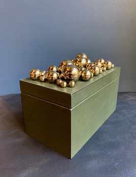 giobagnara Multiple Sphere Rectangular Champagne Leather Box - Tall - Green - Stephan Parmentier for Gibagnara - Hand Made in Italy