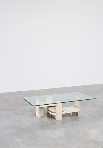 Vintage Willy Ballez Travertine Coffee Table with Bevelled Glass Top - H36xW130xD70cm - Belgium c1975