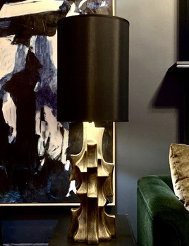 Dan Schneiger Organic Table Lamp - Dan Schneiger - Resin Coated Recycled Materials - Black & Gold Finish - Brutalist Style - H106cm - Hand Crafted in Miami