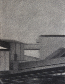 Joshua Charadia - Monument 15, 2019 - Willow Charcoal on Fabriano Paper - 48x37.5cm Framed