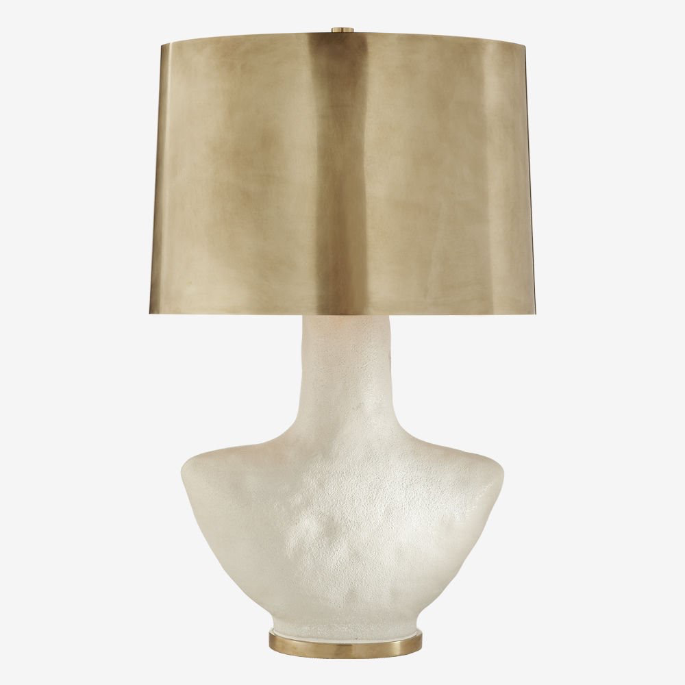 Kelly Wearstler Kelly Wearstler - Armato Table Lamp - Porous White Ceramic with Oval Antique Burnished Brass Shade