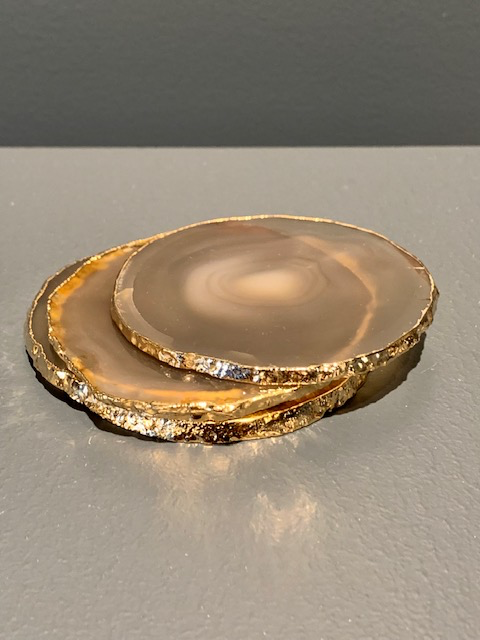 Nativa Gems Agate Coasters with Gold Plated Edge - Nautral - Set of 4