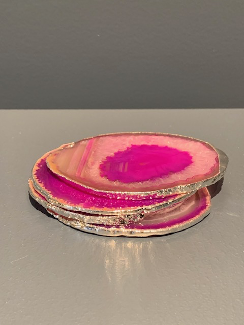 Nativa Gems Agate Coasters with Silver Plated Edge - Pink - Set of 4