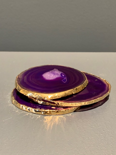Nativa Gems Agate Coasters with Gold Plated Edge - Purple - Set of 4
