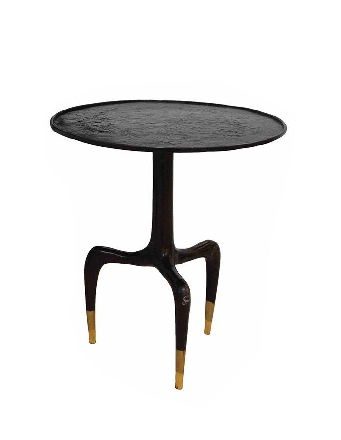 Round Tripod Bronze Side Table - Medium - D45cm x H50cm
