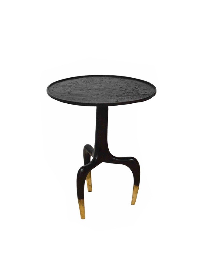 Round Tripod Bronze Side Table - Small - D35cm x H40cm
