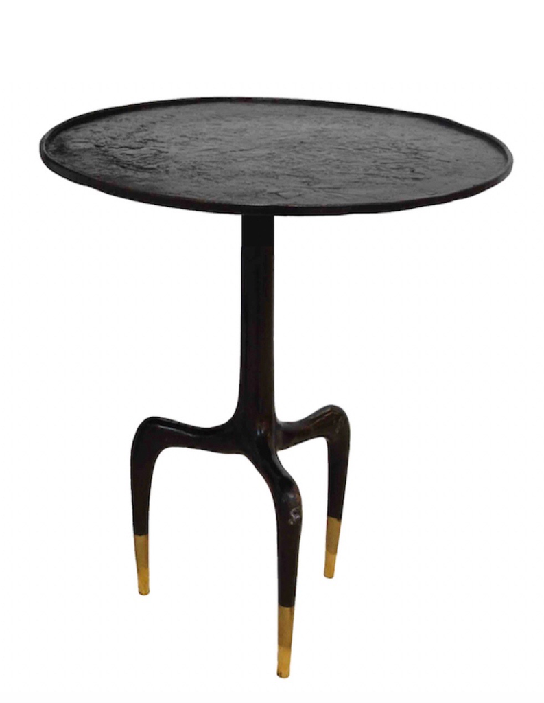 Round Tripod Bronze Side Table - Large - D55cm x H60cm