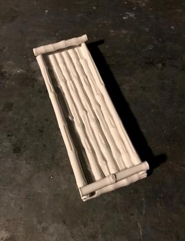 Home Ceramic Bamboo Tray - Rectangular - Gloss White - L34x12cm
