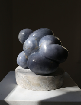 Babs (2018) - Carol Crawford Sculpture - Blue Mist Alabaster on an Aged Alabaster Base - 24cm H x 21xm W x 17cm D - Australia
