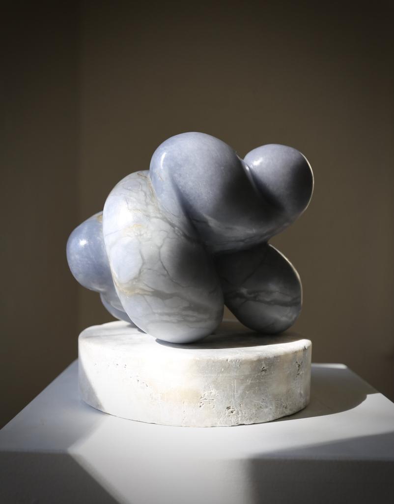 Babs (2018) - Carol Crawford Sculpture - Blue Mist Alabaster on an Aged Alabaster Base - 24cm H x 21xm W x 17cm D - Australia
