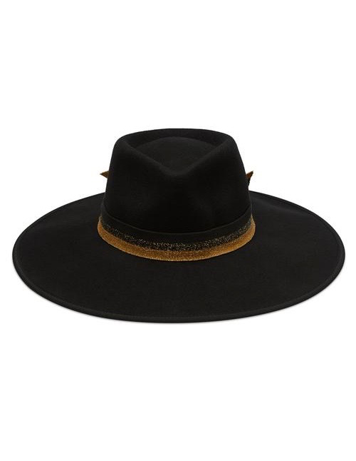 Avenue Accessories Angus Wide Fedora - 100% Australian Wool - Black with Lurex Ribbon - Adjustable