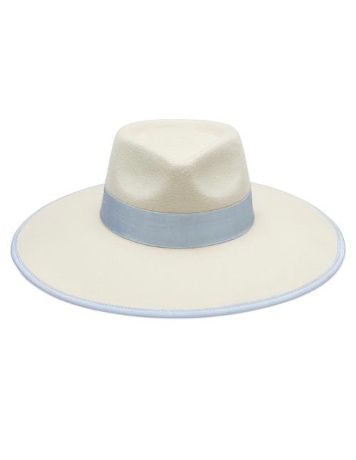 Avenue Accessories Lee Wide Fedora - 100% Australian Wool - Ivory with Blue Grosgrain Ribbon Trim - Adjustable